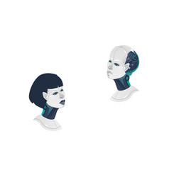 Cartoon man woman cyborg heads icon vector