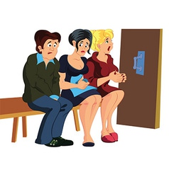 Cartoon people waiting in line vector image