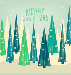 Christmas card pine forest decorated trees and vector
