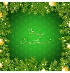 Christmas Tree Border With And Gold Ball vector image