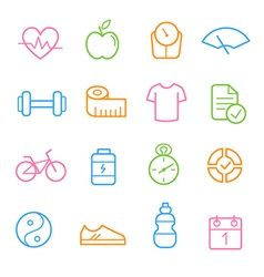 Colorful health and fitness icon set vector