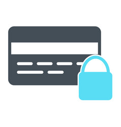credit card security with lock icon pictogram vector image