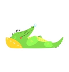 Crocodile sleeping with pillow humanized green vector