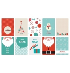 Cute collection vintage christmas greeting vector
