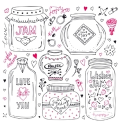 Cute mason jars set Valentines hand drawn doodle vector