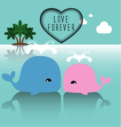 Cute whales with heart vector image