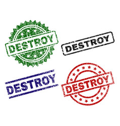 Damaged textured destroy stamp seals vector