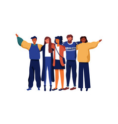 diverse young people group of friends vector image