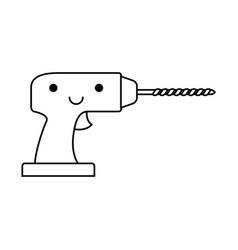 drill tool icon monochrome kawaii silhouette vector image