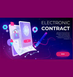 Electronic contract banner e-signature document vector