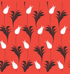 elegant iznik style tulips seamless pattern vector image