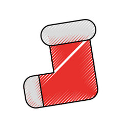 Empty christmas stocking decorative red with white vector