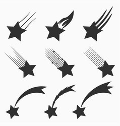 falling stars icons set vector image