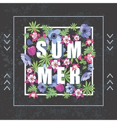Fashion Print for T-shirt Summer Floral Banner vector image