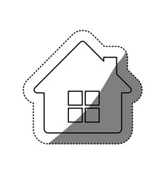 Figure house with window and chimney vector