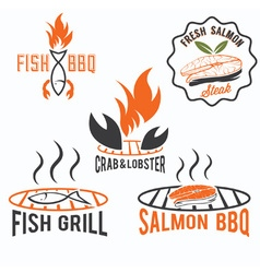 Fish and seafood bbq set vector