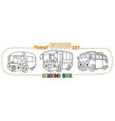 funny vintage buses with eyes coloring book set vector image