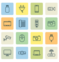 Gadget icons set collection of work phone vector