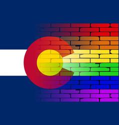 Gay rainbow wall colorado flag vector