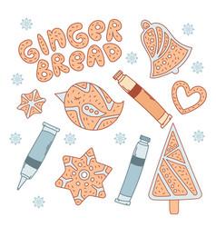 Gingerbread set christmas bakery vector