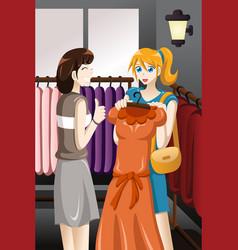 Girls buying dress vector