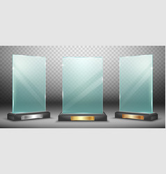 glass trophy or acrylic winner award realistic vector image