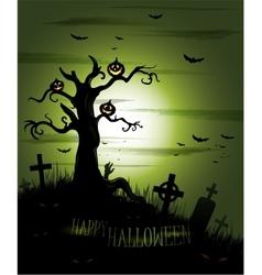 green halloween background vector image