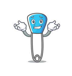 Grinning safety pin character cartoon vector