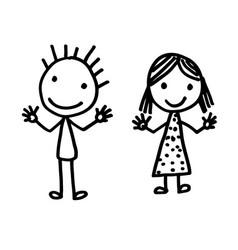 hand drawn kid cartoon vector image