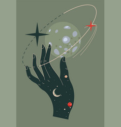 hand touching moon or fantasy planet outer space vector image