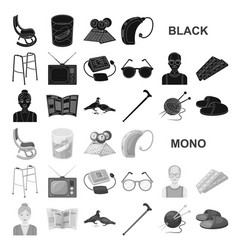 human old age black icons in set collection for vector image