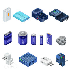 Isometric chargers and batteries collection vector