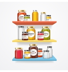 Jam Glasses on Shelf vector