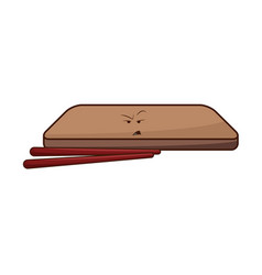 Kawaii wooden plate and chopsticks japanese vector