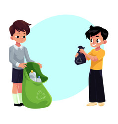 kids boys collect plastic bottles into garbage vector image
