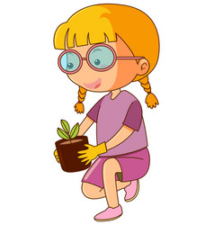 little girl and potted plant vector image