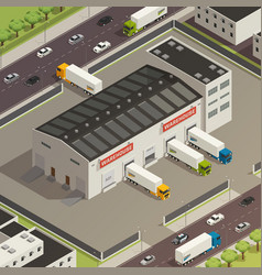 logistic trucking isometric vector image