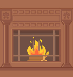 luxury brown fireplace with decorative ornaments vector image