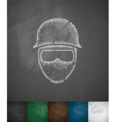 Man in helmet icon vector
