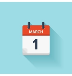 March 1 flat daily calendar icon Date and vector image