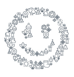 merry christmas lined icons concept vector image
