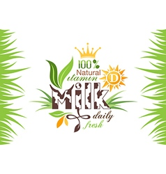 Milk banner with emblem and grass vector image