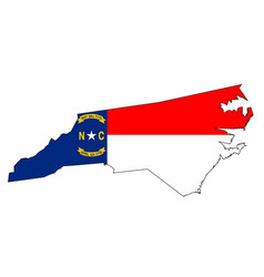 North carolina outline map and flag vector