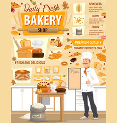 pastry bakery ingredients and baker vector image
