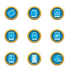 phone setup icons set flat style vector image