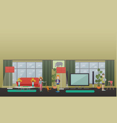 playing games with pets flat vector image