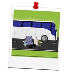 Polaroid picture tourist bus vector