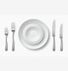 Realistic food plates white ceramic dish vector