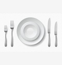 realistic food plates white ceramic dish with vector image