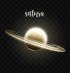 realistic glowing saturn planet isolated glow vector image